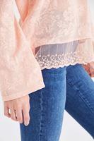 Bayan Pembe Dantel Detaylı Bluz