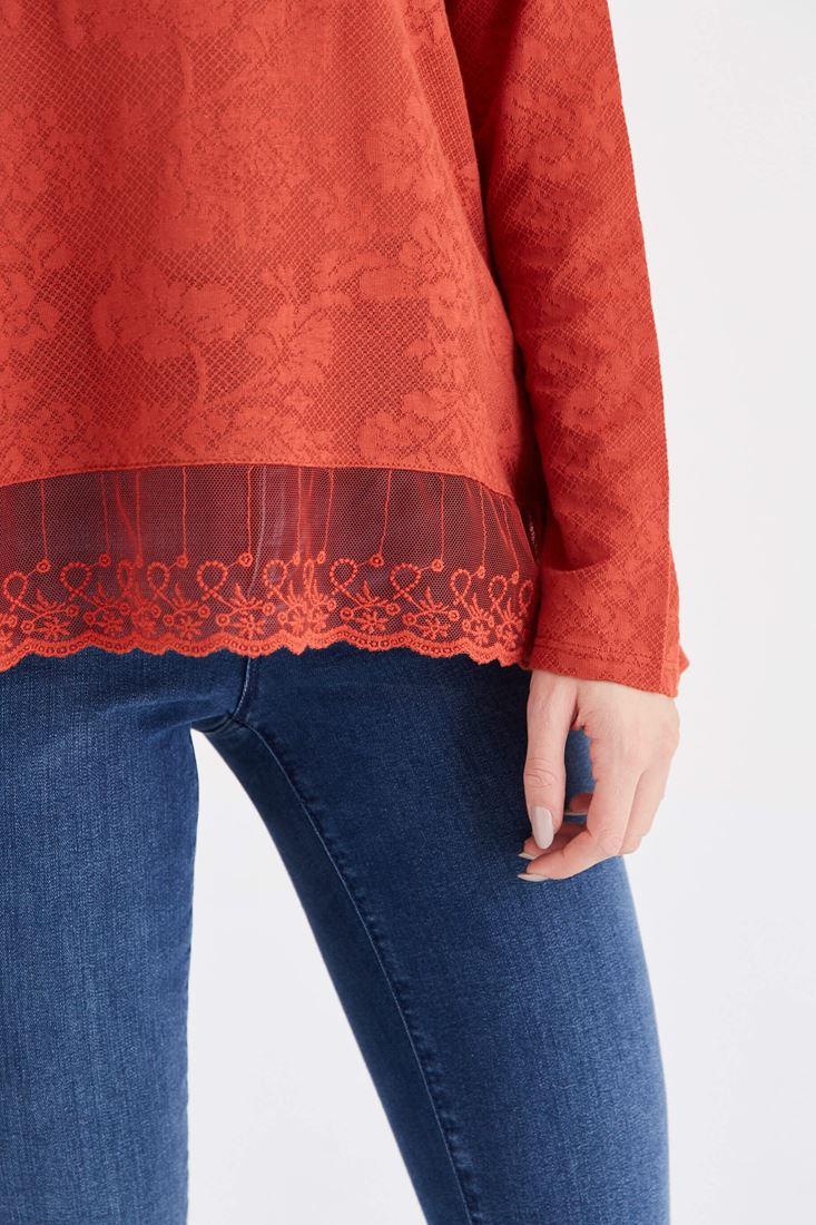 Bayan Turuncu Dantel Detaylı Bluz