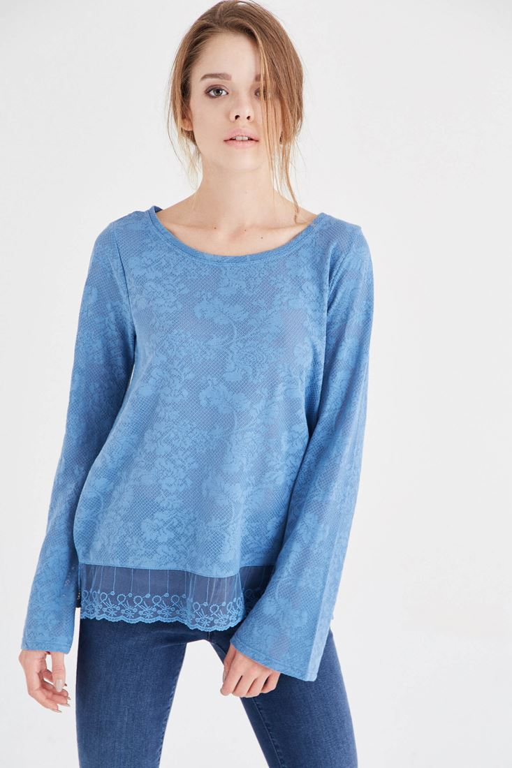 Mavi Dantel Detaylı Bluz