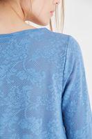 Bayan Mavi Dantel Detaylı Bluz