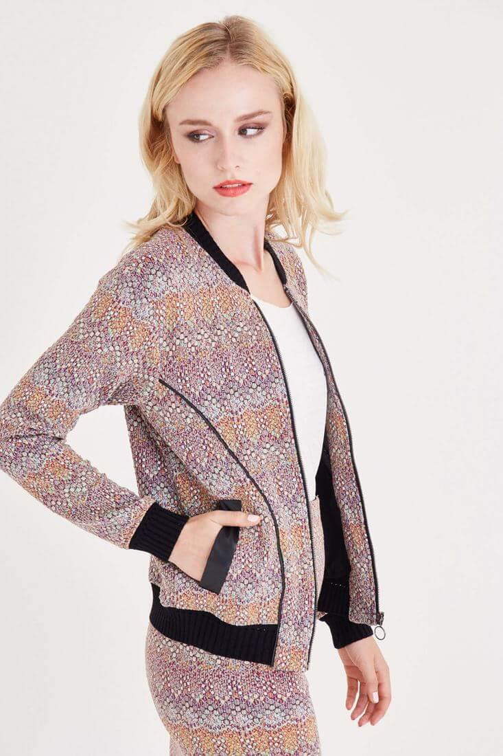 Bayan Çok Renkli Desenli Bomber Ceket