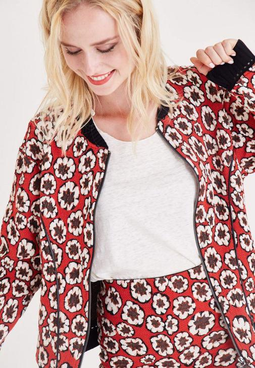 Kırmızı Çiçek Desenli Bomber Ceket