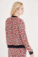 Bayan Kırmızı Çiçek Desenli Bomber Ceket