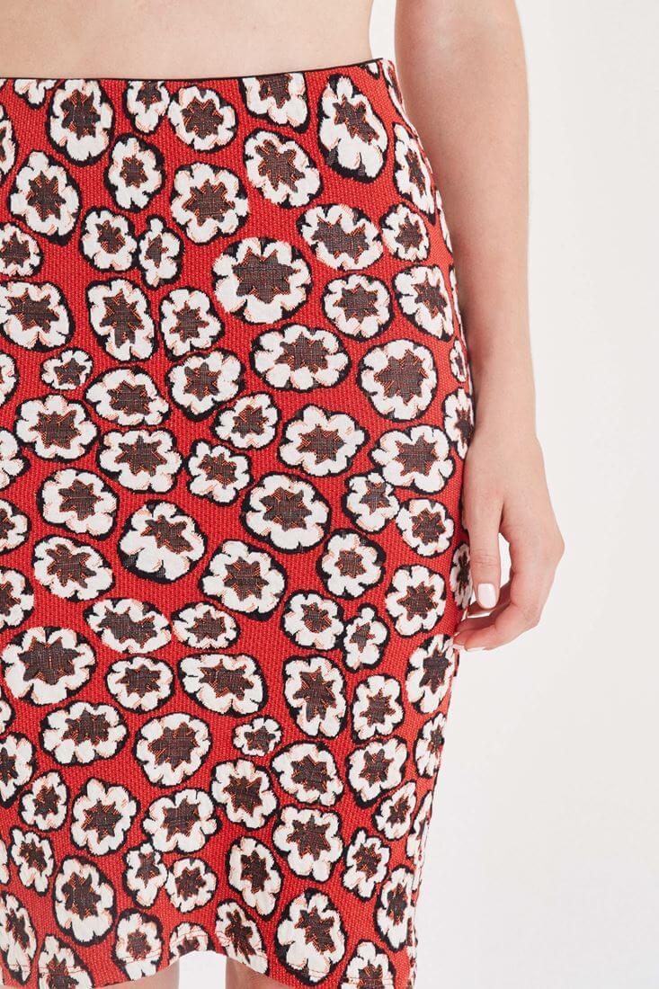 Bayan Kırmızı Çiçek Desenli Kalem Etek