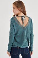 Bayan Yeşil Yakası Dantel Detaylı Bluz