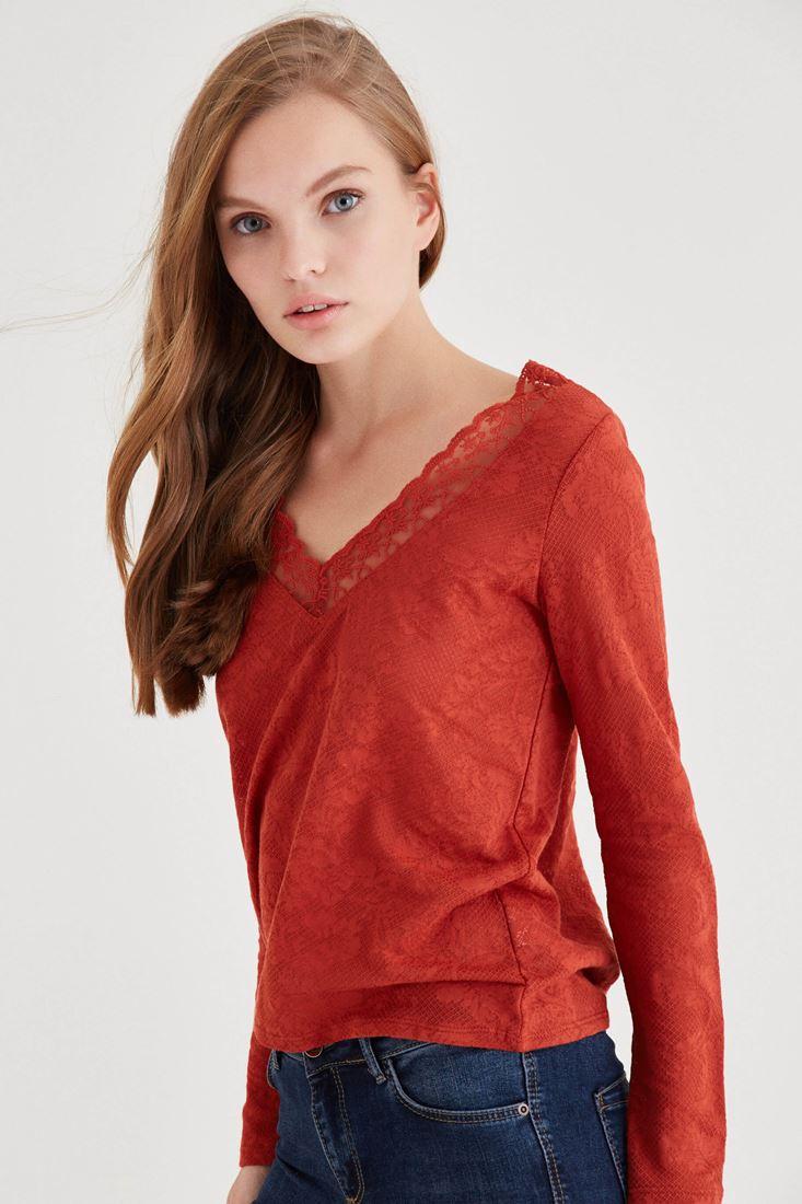 Bayan Turuncu Yakası Dantel Detaylı Bluz