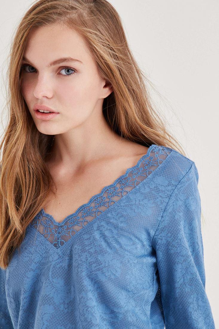 Bayan Mavi Yakası Dantel Detaylı Bluz