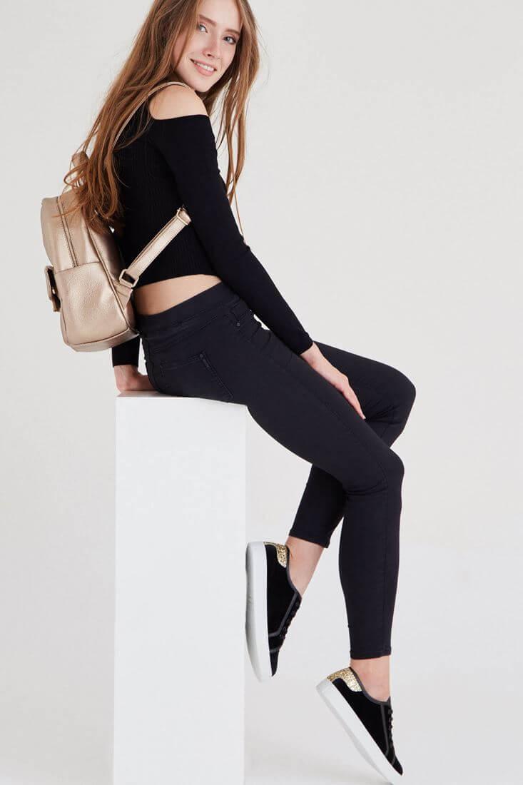Bayan Siyah Düşük Bel Tayt Pantolon