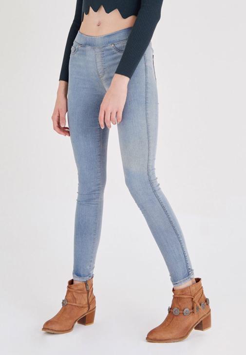 Mavi Düşük Bel Esnek Tayt Pantolon