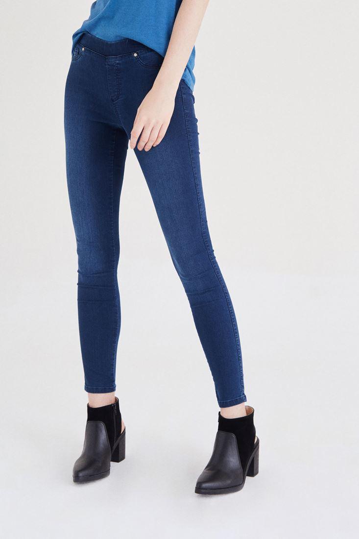 Bayan Mavi Düşük Bel Esnek Tayt Pantolon