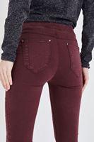Bayan Bordo Düşük Bel Tayt Pantolon