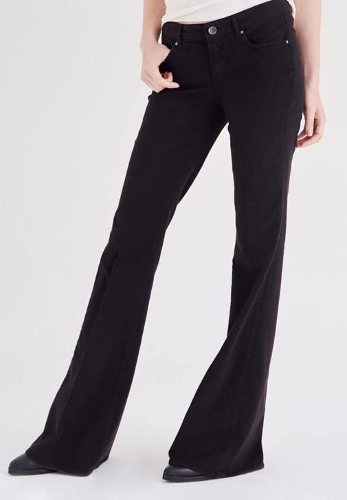 Siyah Düşük Bel İspanyol Paça Pantolon