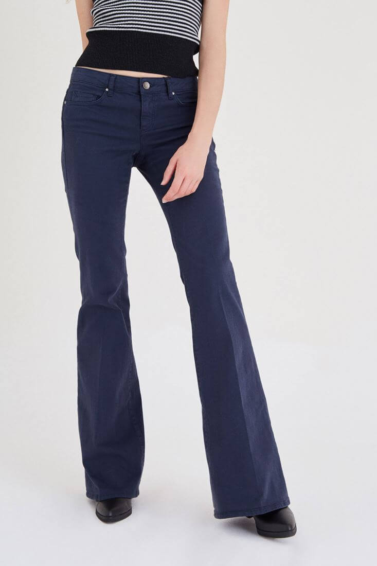 Navy Low Rise Flare Pants