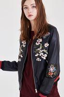 Bayan Siyah Nakışlı Deri Ceket