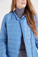 Bayan Mavi Fermuarlı Şişme Mont
