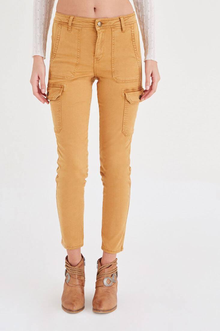 Turuncu Cep Detaylı Kargo Pantolon