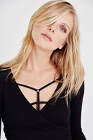 Bayan Siyah V Yaka Uzun Kollu Basic Tişört