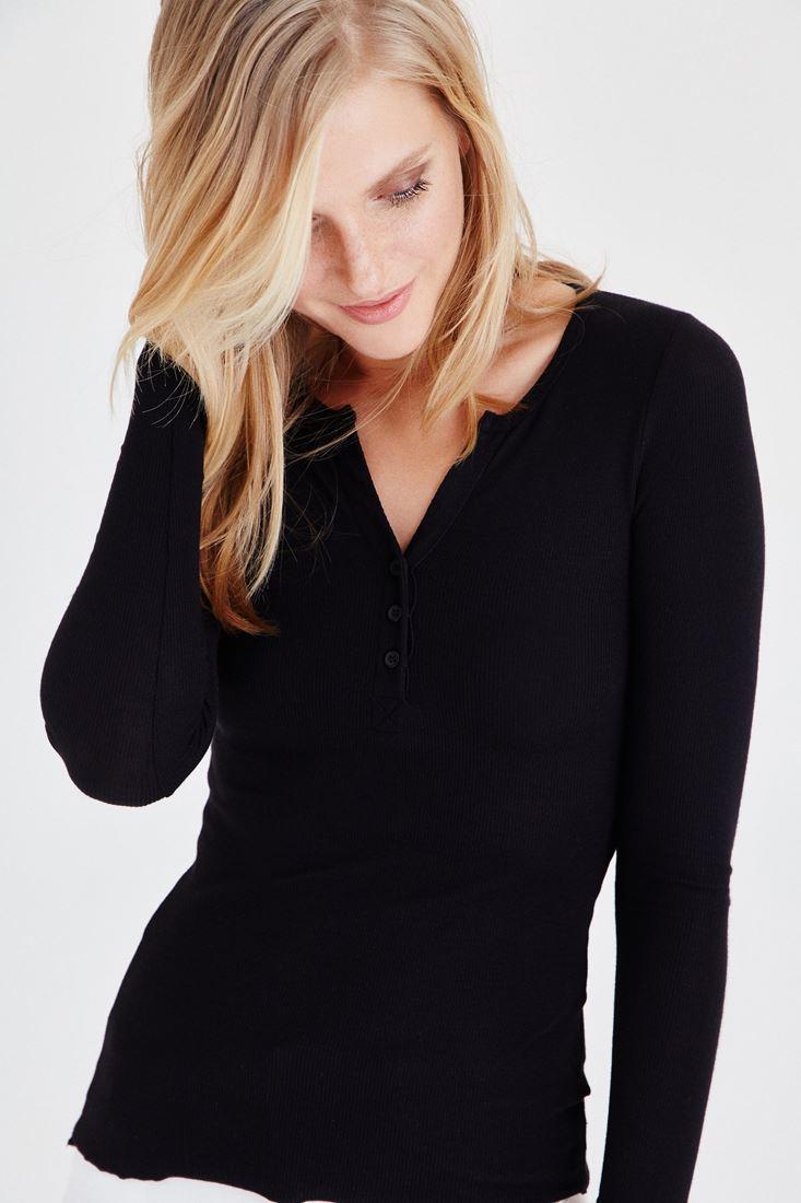 Bayan Siyah Düğmeli Uzun Kollu Tişört