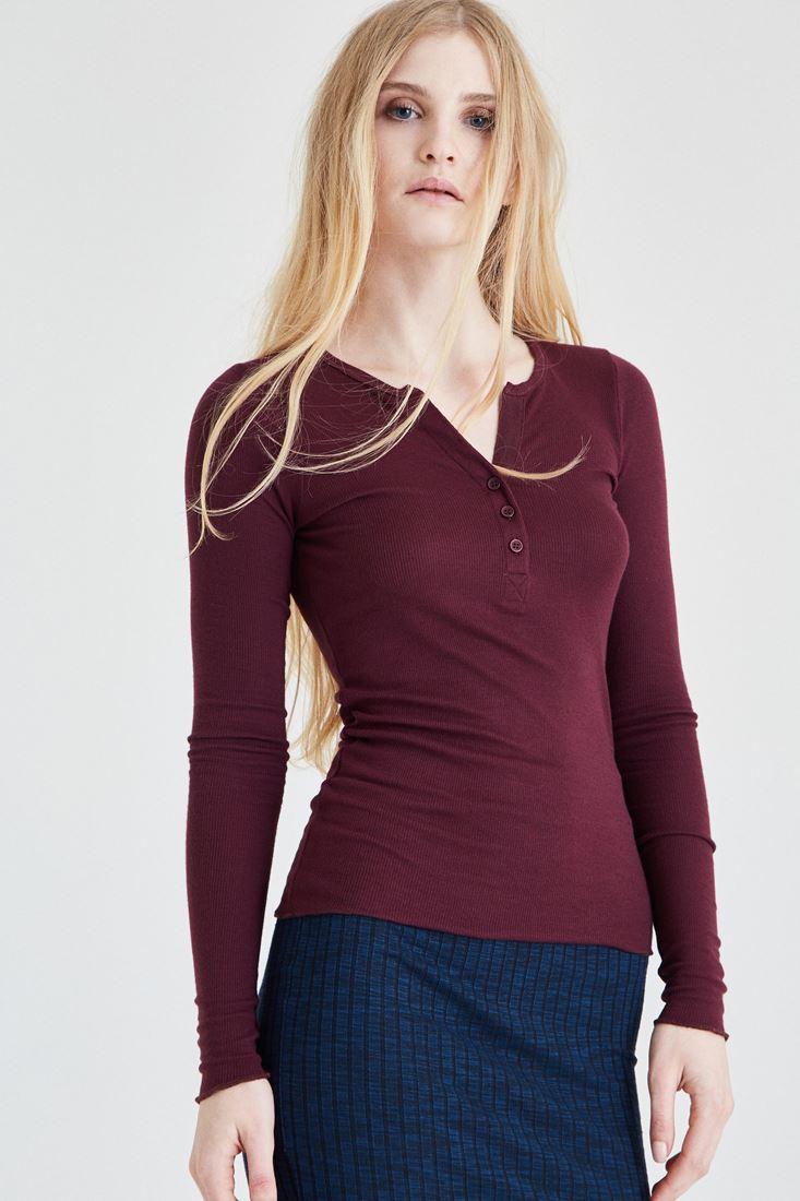 Bordo Düğmeli Uzun Kollu Tişört