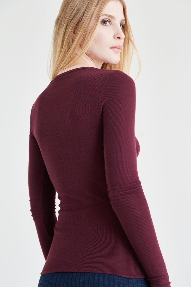 Bayan Bordo Düğmeli Uzun Kollu Tişört