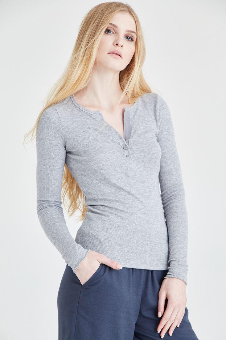 Bayan Gri Düğmeli Uzun Kollu Tişört