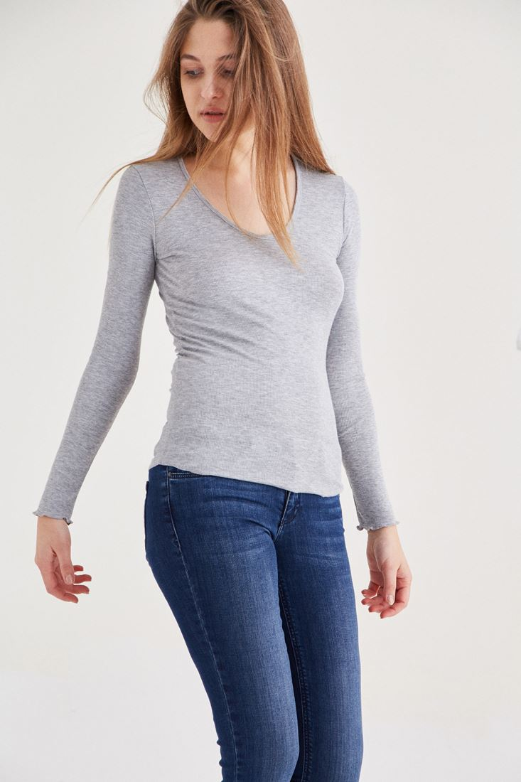 Gri Uzun Kollu Basic Tişört
