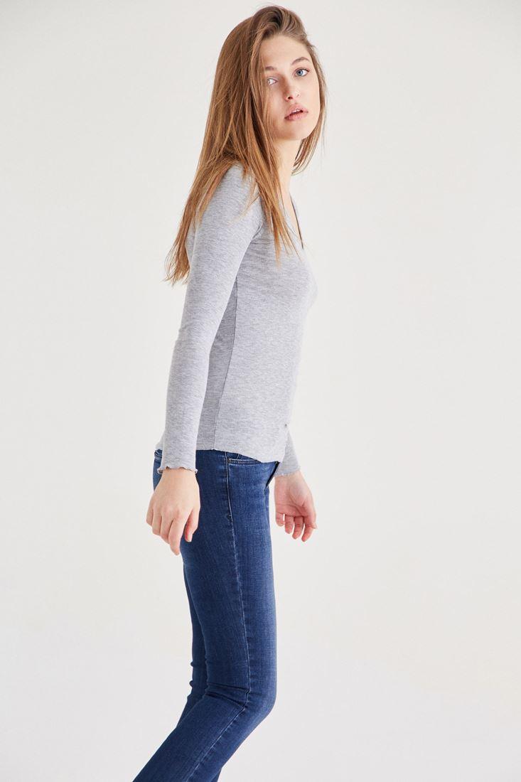 Bayan Gri Uzun Kollu Basic Tişört