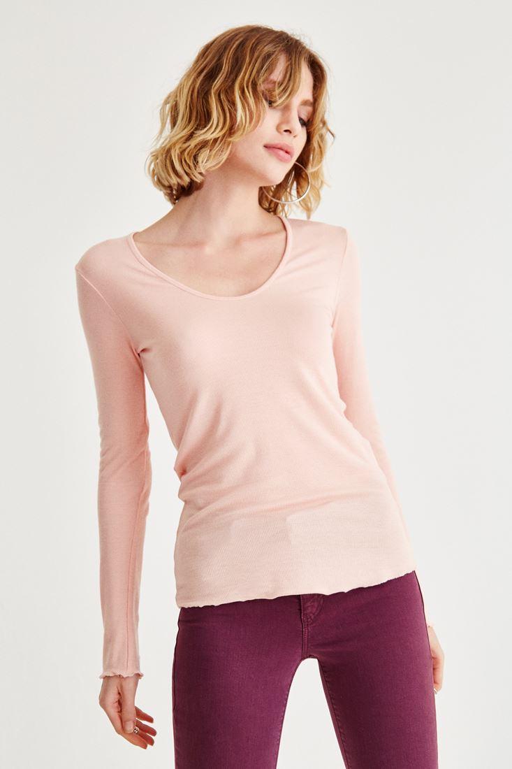 Bayan Pembe Uzun Kollu Basic Tişört