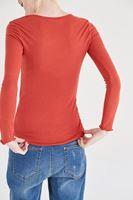 Bayan Turuncu Uzun Kollu Basic Tişört