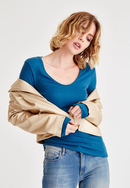 Mavi Uzun Kollu Basic Tişört