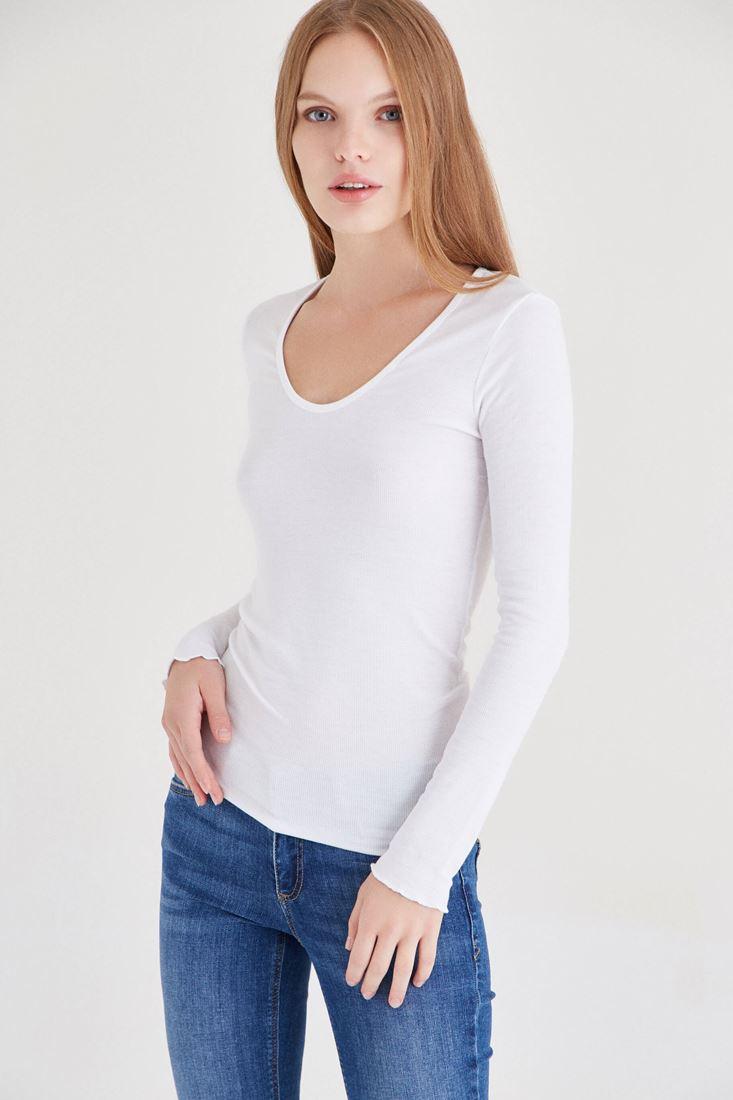Bayan Beyaz Uzun Kollu Basic Tişört