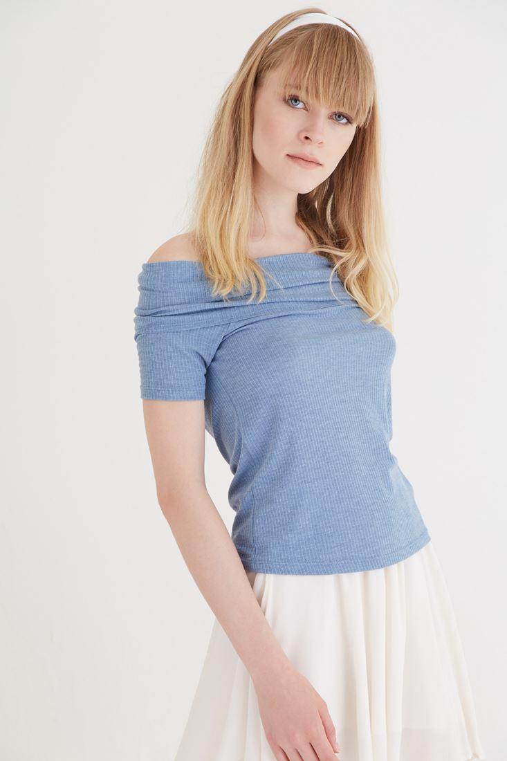 Bayan Mavi Bot Yaka Bluz