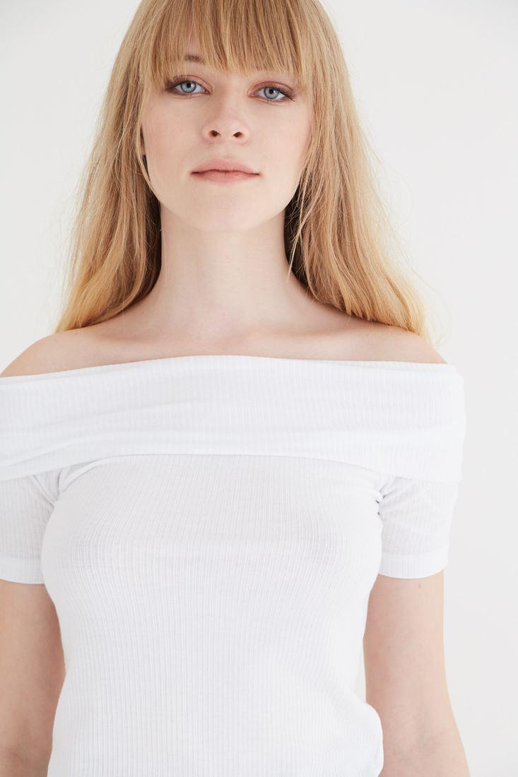 Bayan Beyaz Bot Yaka Bluz