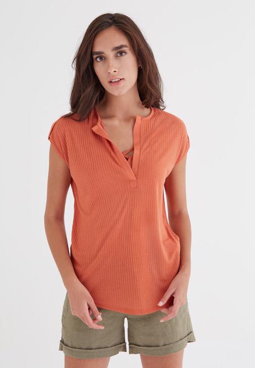 Turuncu V Yaka Bol Kesim Tişört