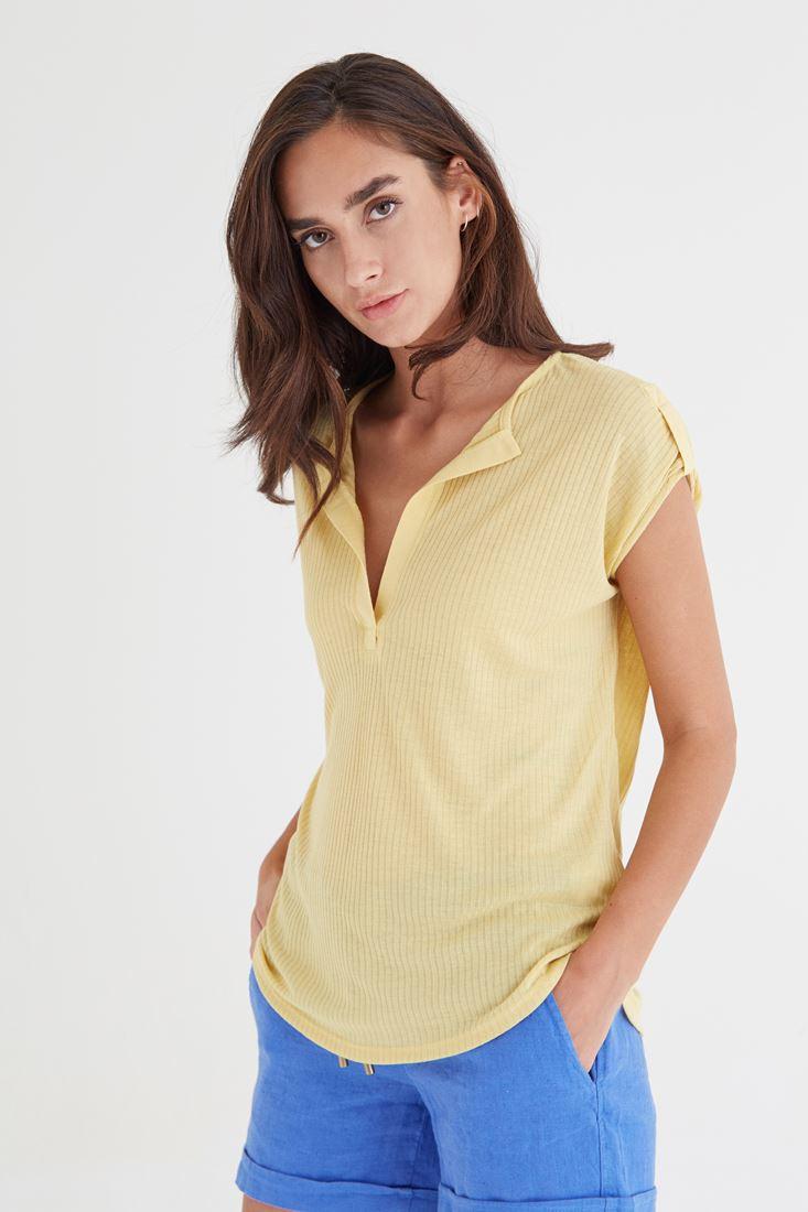 Bayan Sarı V Yaka Bol Kesim Tişört
