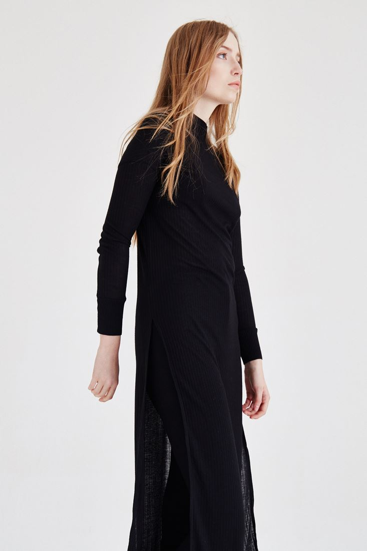 Bayan Siyah Yırtmaçlı Elbise