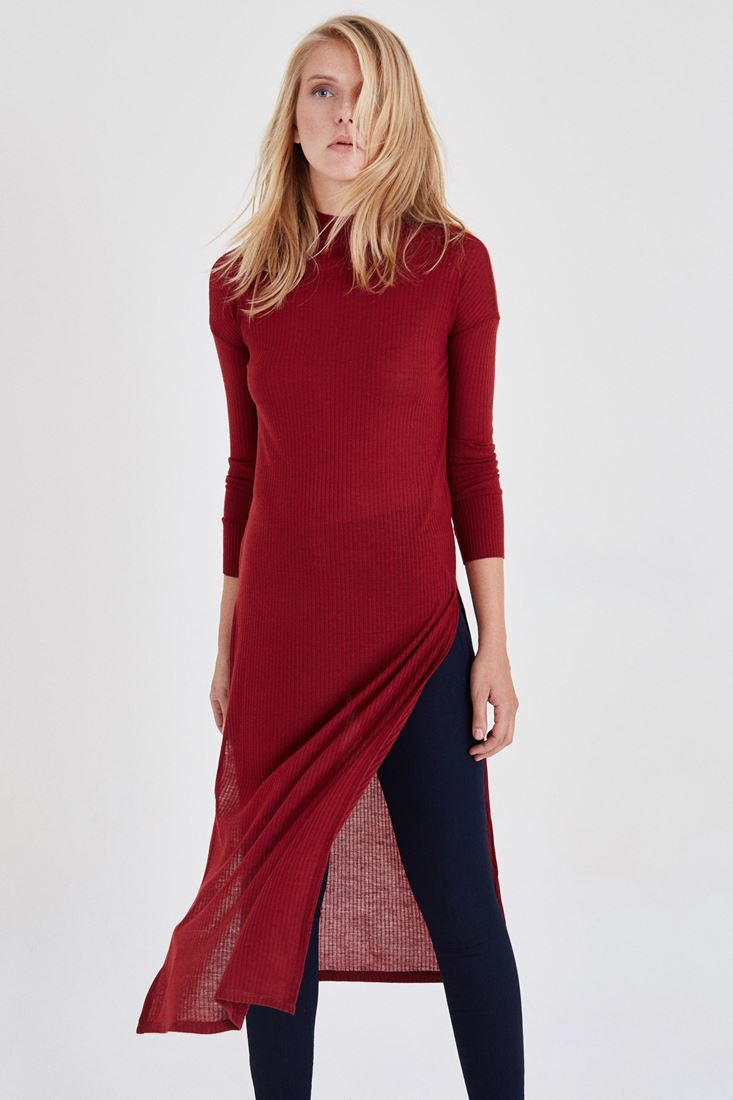 Bayan Bordo Yırtmaçlı Elbise