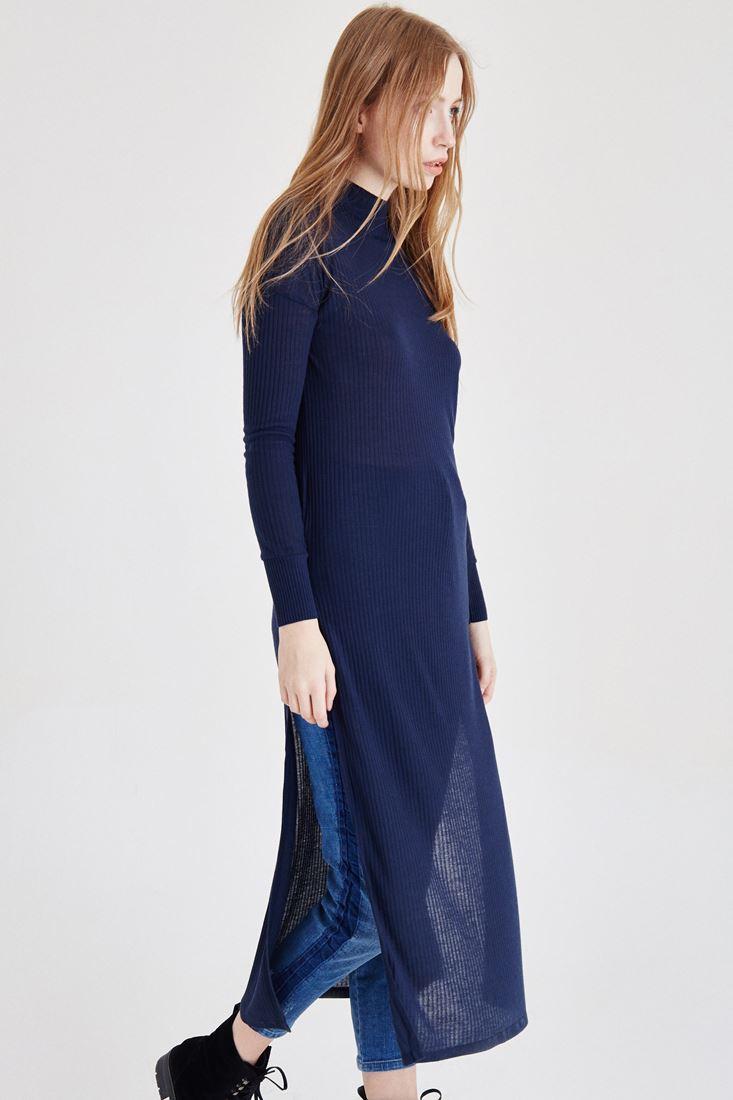 Bayan Lacivert Yırtmaçlı Elbise