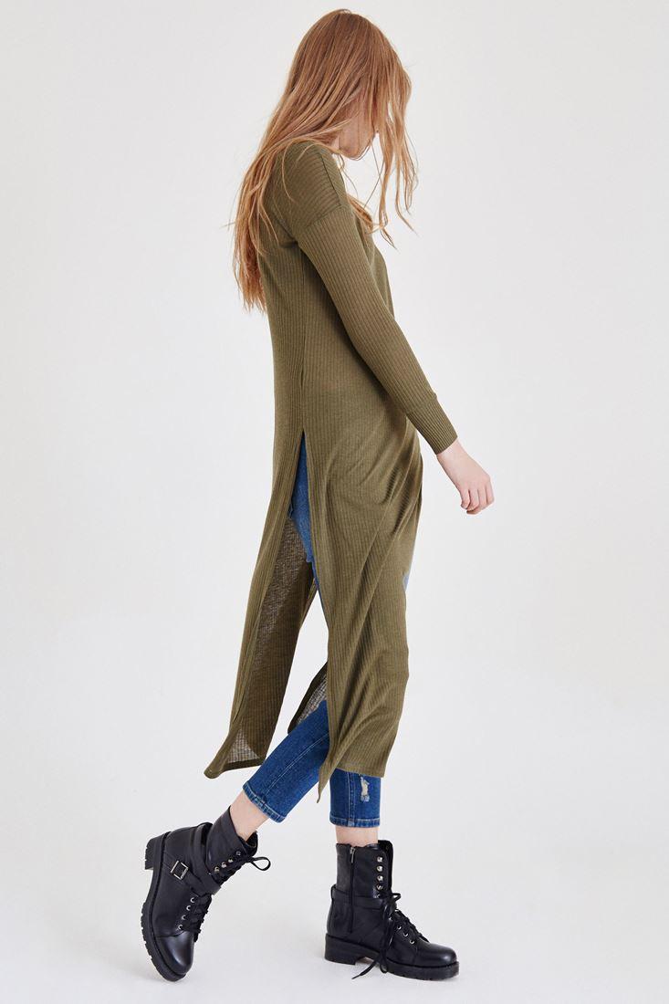 Bayan Yeşil Yırtmaçlı Elbise