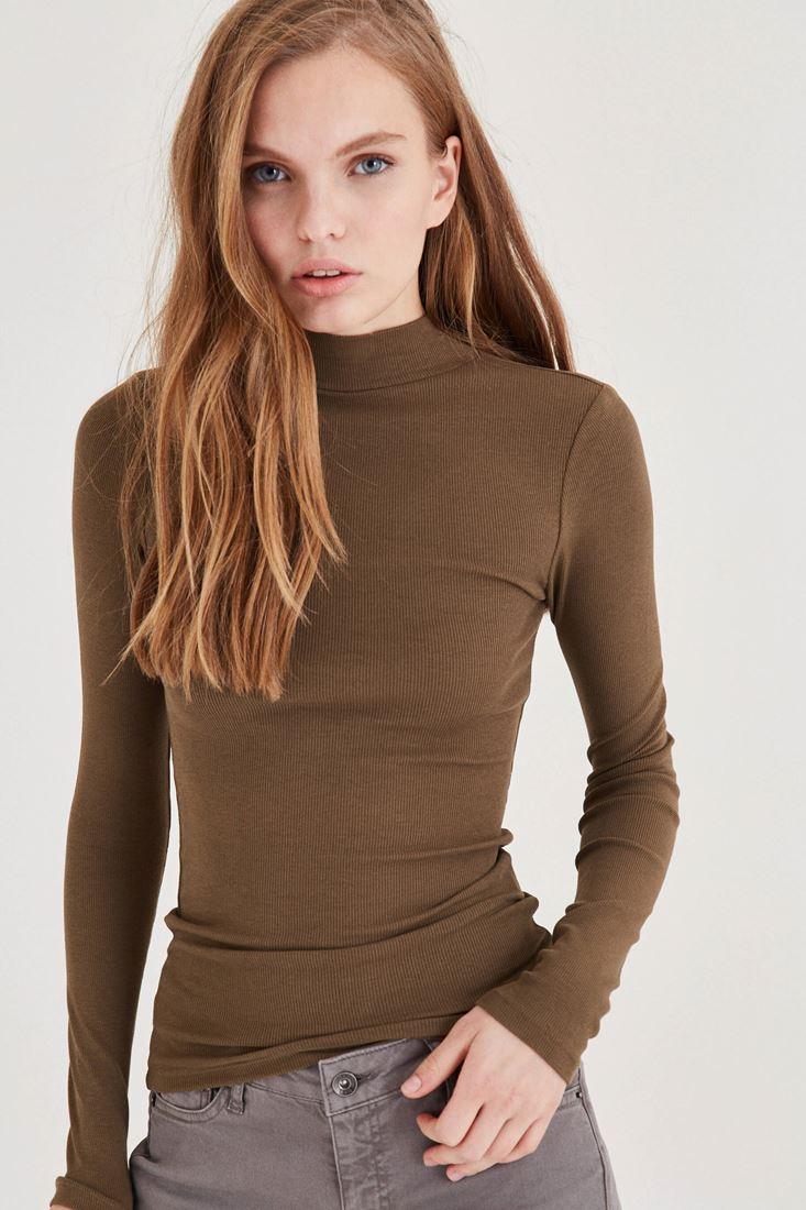Bayan Yeşil Uzun Kollu Boğazlı Tişört
