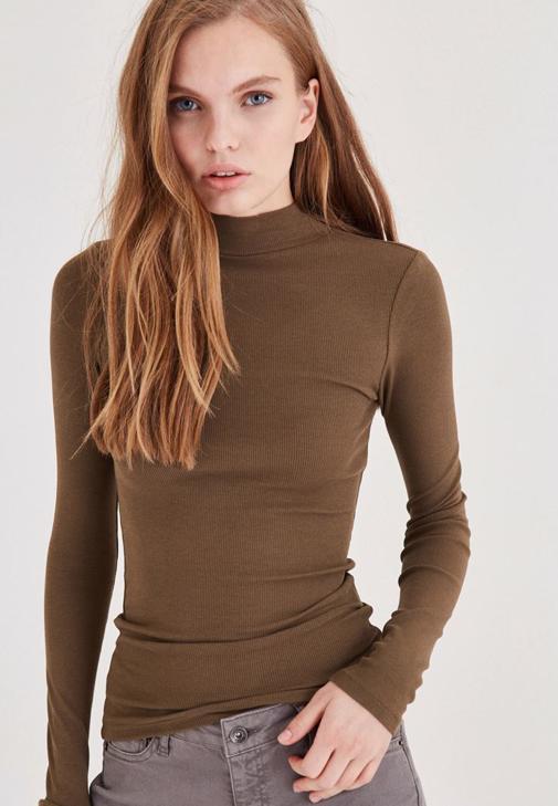 Yeşil Uzun Kollu Boğazlı Tişört
