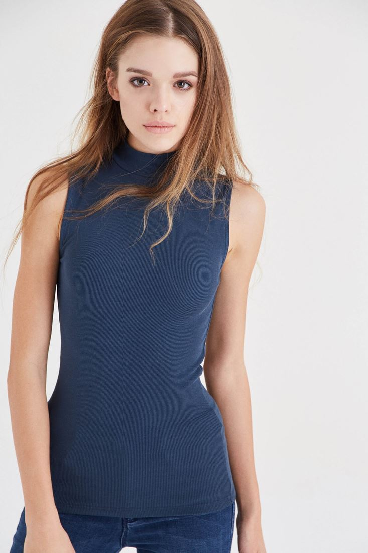 Navy Turtleneck Tank