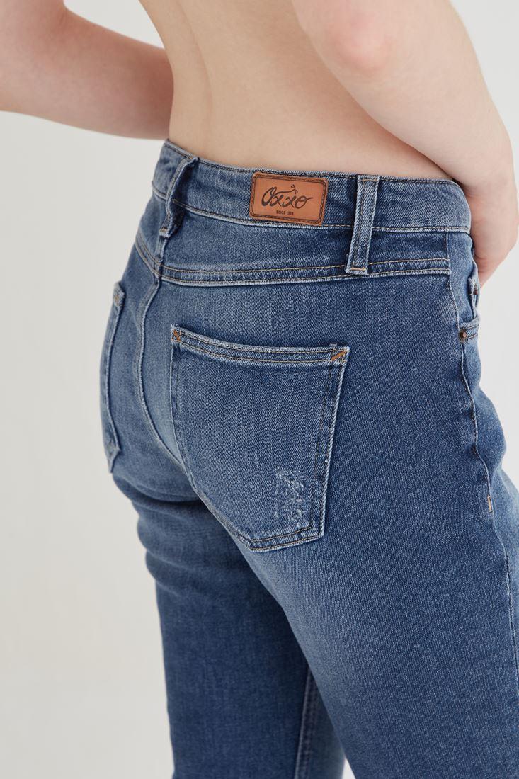 Bayan Mavi Düşük Bel Kot Pantolon