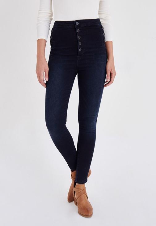 Mavi Düğme Detaylı Kot Pantolon