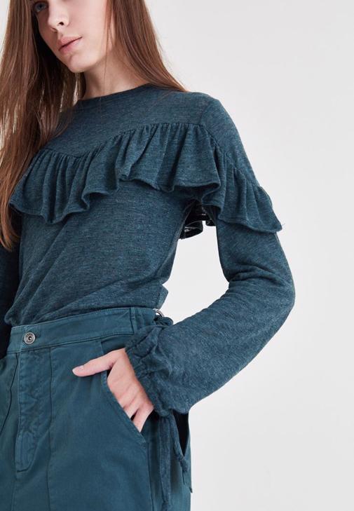 Yeşil Fırfır Detaylı Bluz