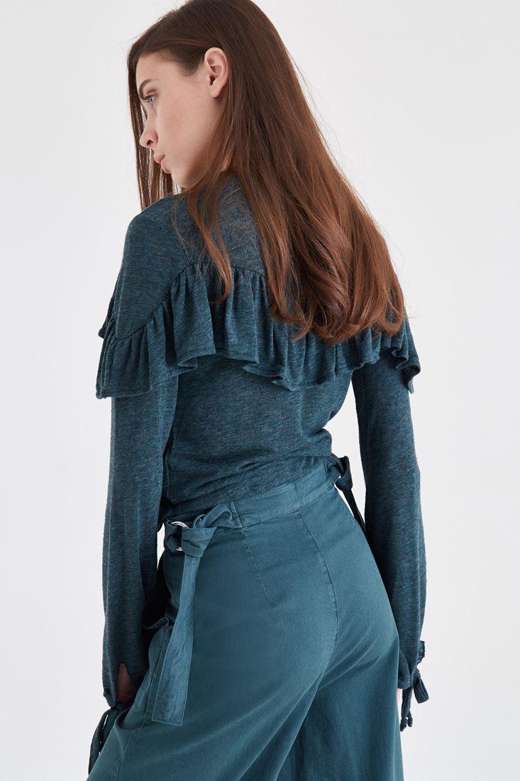 Bayan Yeşil Fırfır Detaylı Bluz