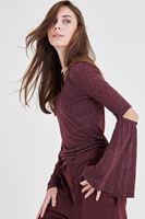 Bayan Bordo Dirsek Detaylı Bluz