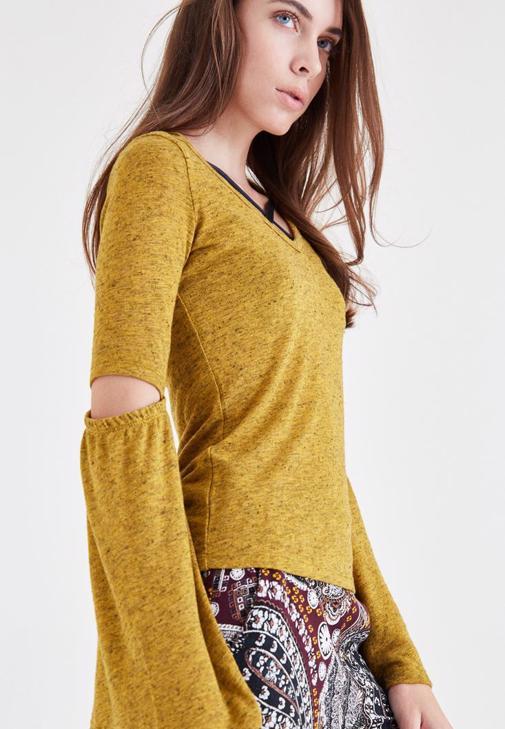 Sarı Dirsek Detaylı Bluz