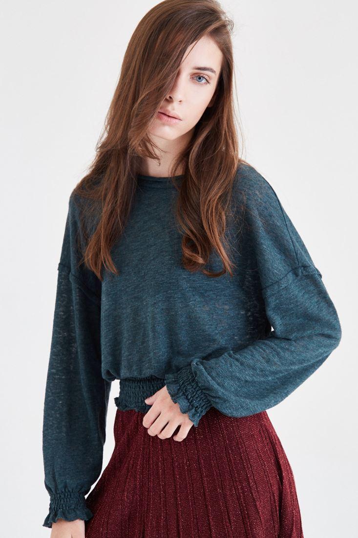 Bayan Yeşil Kolları ve Beli Lastikli Bluz