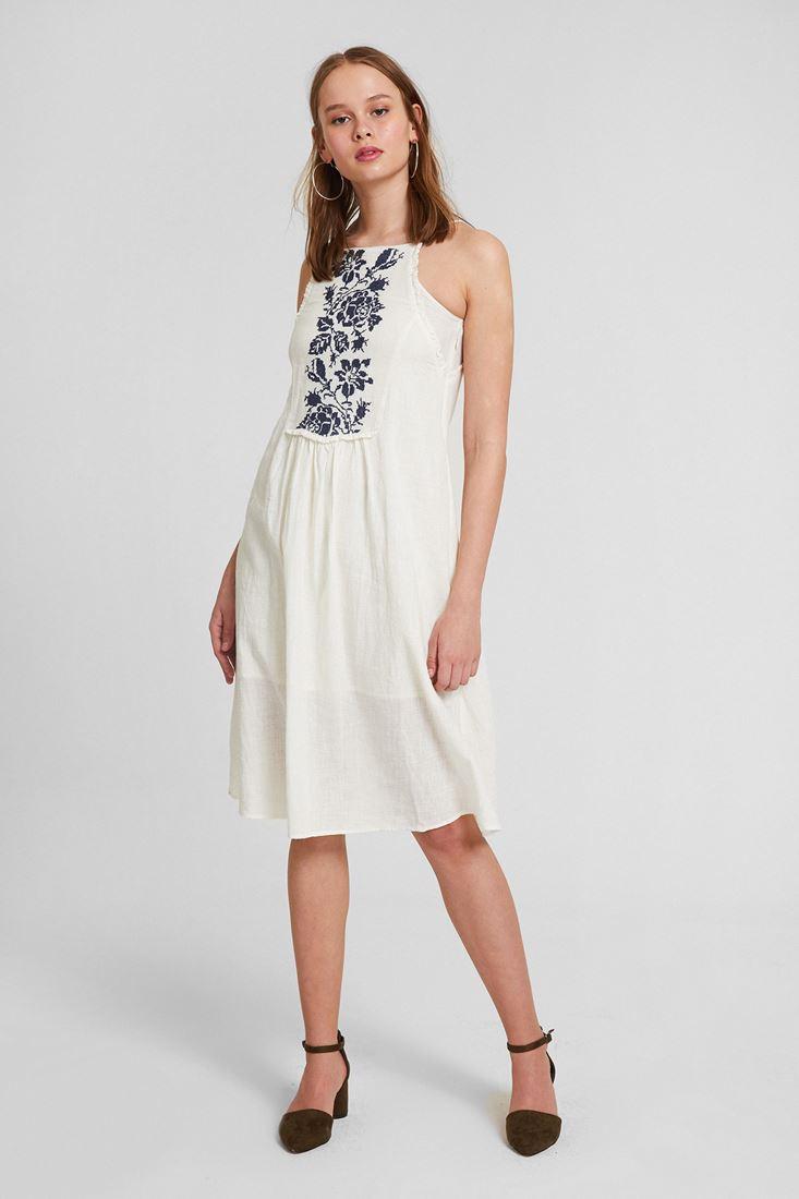 Krem Askılı Nakışlı Elbise